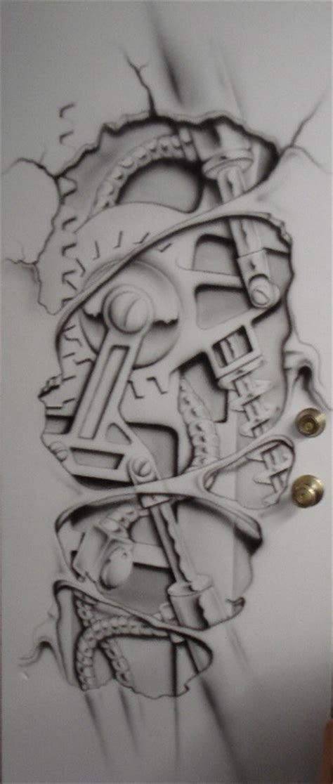 biomechanical tattoo outlines biomechanical airbrush by markfellows on deviantart