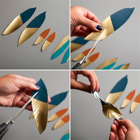 how to make feather jewelry how to make gold dipped leather feather earrings brit co