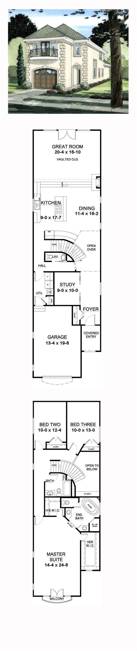House Plans Narrow Lots by Florida House Plan 99997 Narrow Lot House Plans And Bedrooms