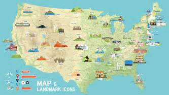 landmarks map usa vector map and us landmark icons by dem g graphicriver