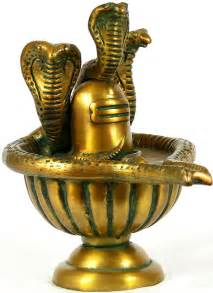 Sculptures gt brass gt shiva linga with shiva s snakes crowning it