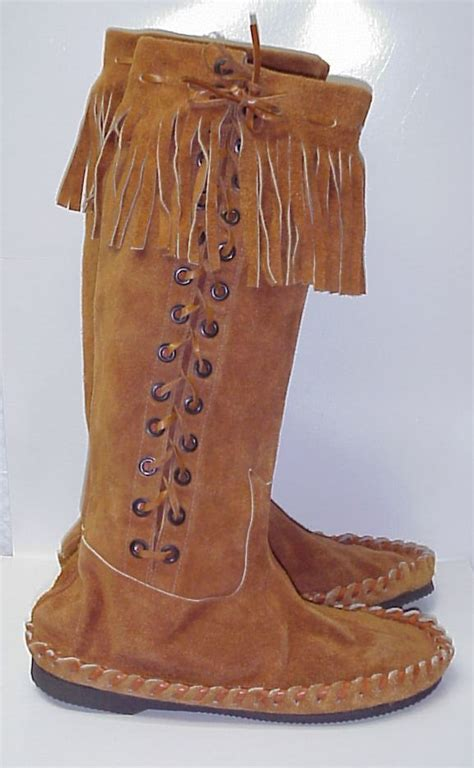 s vintage hippie indian knee high lace up suede