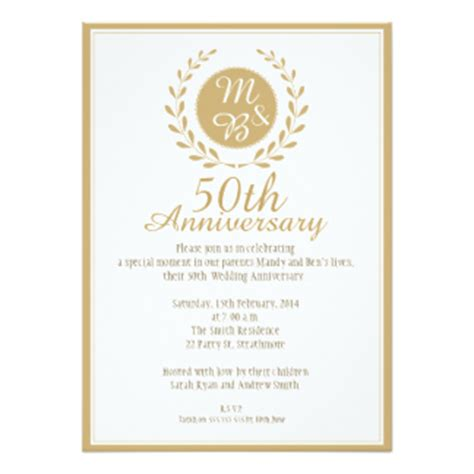 invitation cards for wedding anniversary 50th wedding anniversary invitations zazzle