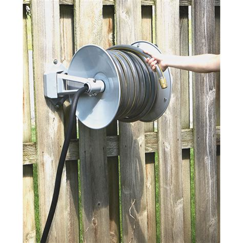 garden hose wall mount strongway parallel or perpendicular wall mount garden hose reel holds 5 8in x 150ft hose