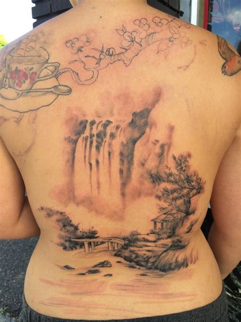 waterfall tattoo waterfall by nickhole arcade of spidermonkey
