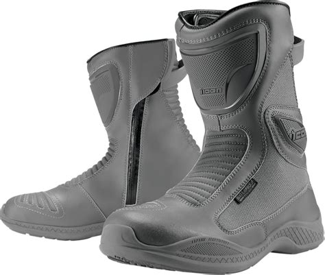 grey motorcycle boots icon reign waterproof motorcycle boot grey