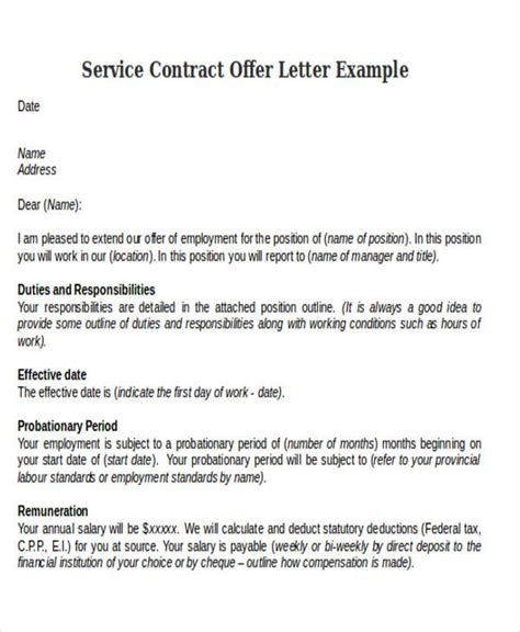 Service Contract Letter contract offer letter templates 9 free word pdf format