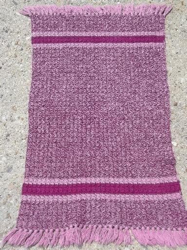 Pink Throw Rug by Handmade Vintage Fringed Crochet Cotton Throw Rug Pink
