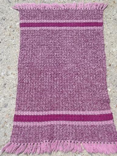 handmade vintage fringed crochet cotton throw rug pink