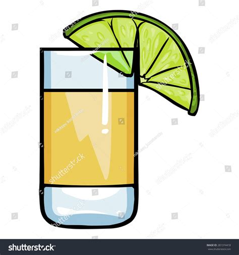 cartoon tequila vector cartoon shot tequila lime stock vector 281374418