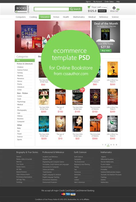 templates for bookstore e commerce template psd for online bookstore freebie no 68