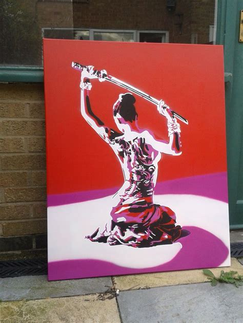 japanese spray paint japanese geisha with samurai sword painting stencil