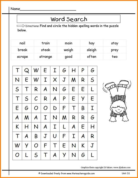 word search worksheets for second grade word best free