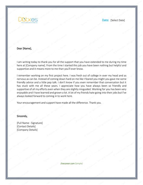 Support Appreciation Letter thank you letter to 8 plus best sles and templates