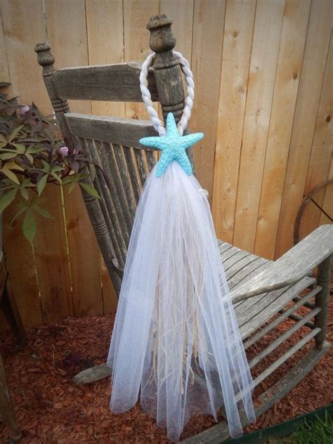 Tulle and Raffia Chair Hangers, Painted Starfish, Pew Bow