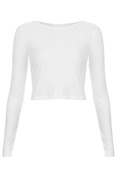 Sleeve Top White Topshop Sleeve Rib Crop Top In White Lyst