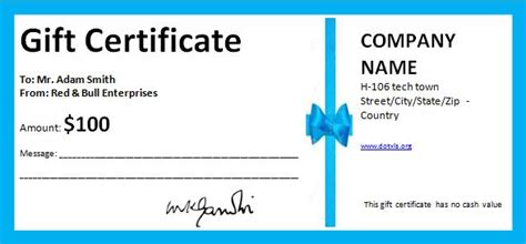 professional gift certificate template free business gift certificate template with blue