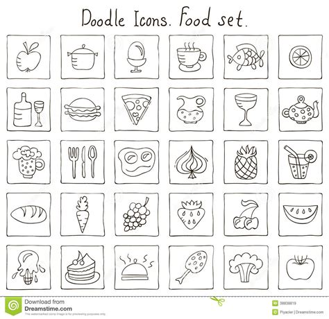 doodle food icons set doodle icons food set stock vector image of black