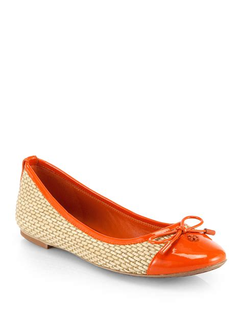 Flatshoes Toryburch Import 4 Burch Catherine Raffia Patent Leather Ballet Flats In