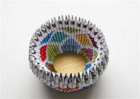 Folded Paper Bowl - colorful all purpose bowl fashioned from recycled paper