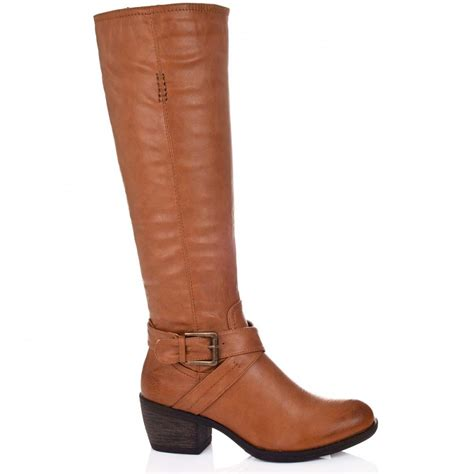 buy block heel knee high biker boots leather