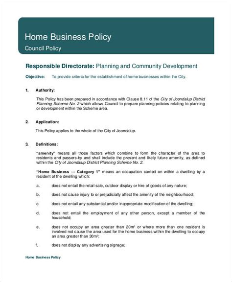 Business Policy Template business policy template 9 free pdf documents