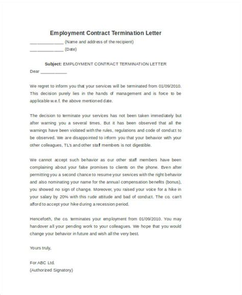 Letter Of Employee Contract Termination 53 termination letter exles sles pdf doc