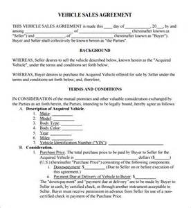 vehicle sale agreement template sales agreement 6 free pdf doc