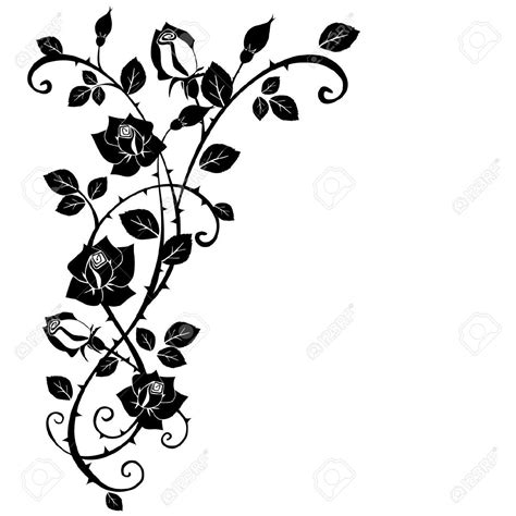 rose branch tattoo roses branch vine vector s 246 k p 229 vinyls