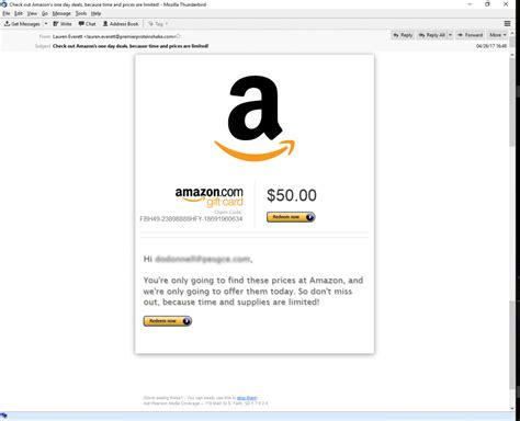 Amazon Gift Card By Email - 50 amazon gift card phishing email phishing user training