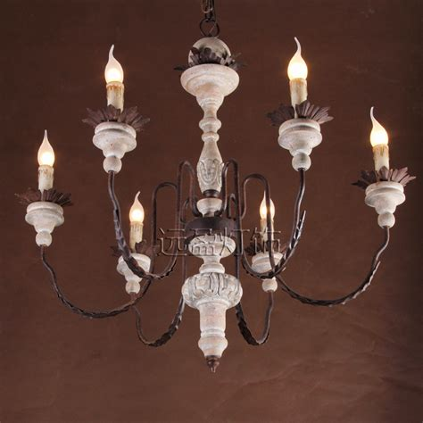 Large Candle Chandelier Far Surplus Handmade Wooden Personality American Wrought Iron Candle Chandelier With A Large