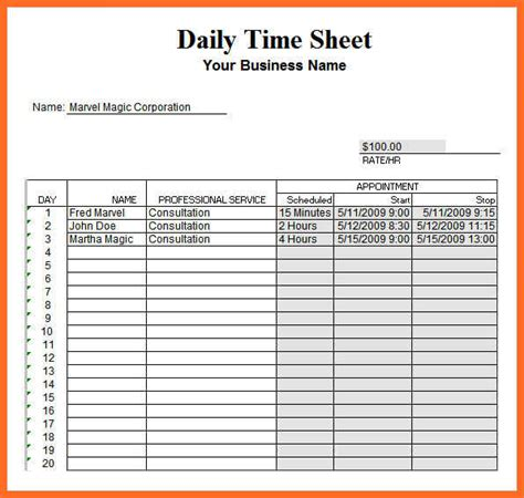 Excel Daily Timesheet Template timesheet template excel soap format