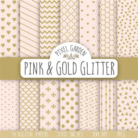 gold patterned digital paper pink and gold glitter digital paper gold from
