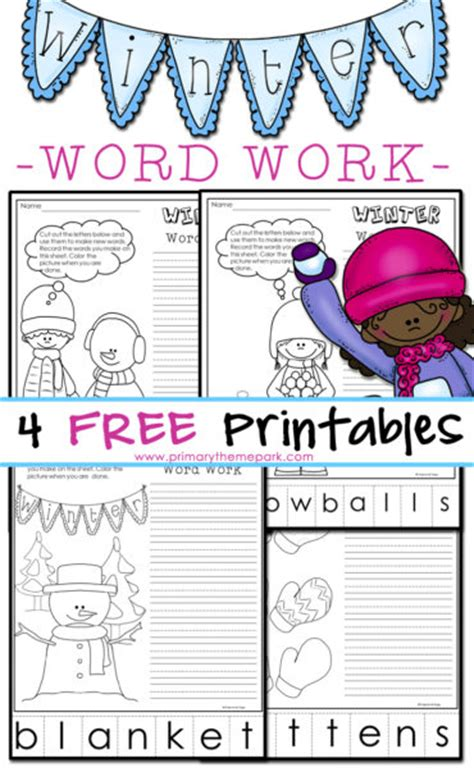 winter phonics worksheets words primary theme park