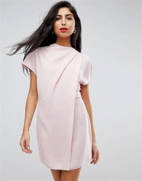 Front Tab Dress asos asos drape front tab side mini dress