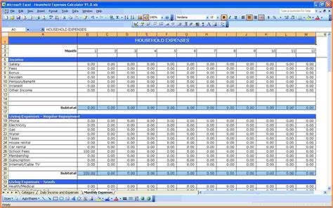 expenditure excel template 8 monthly spending spreadsheet excel spreadsheets