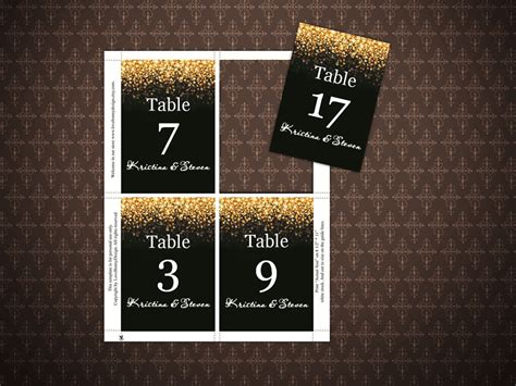 editable printable number cards black and gold glitter wedding table numbers cards