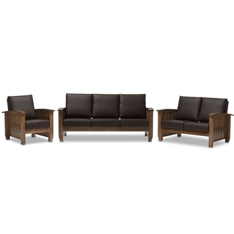 Mission Living Room Set Baxton Studio Modern Classic Mission Style Walnut Brown Wood And Brown Faux