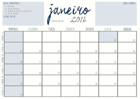 Calendario Semanal 2016 Planner De 2016 Mensal E Semanal Subexplicado