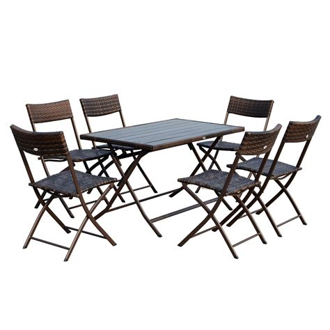 Outsunny 7 Piece Outdoor Folding Rattan Wicker Dining