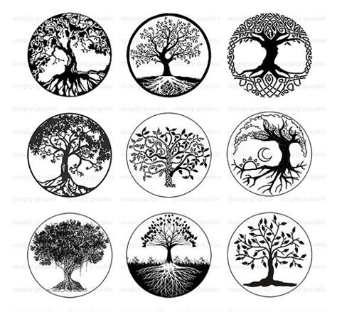 tree of life black and white tree clipart digital