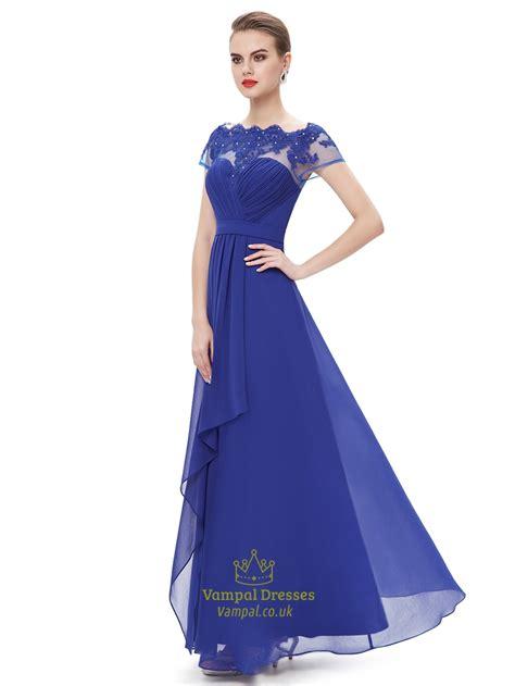 royal blue boat neck dress royal blue boat neck chiffon appliqued prom dress with