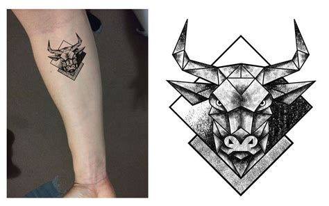 tattoo trends taurus bull geometric dotwork tattoo