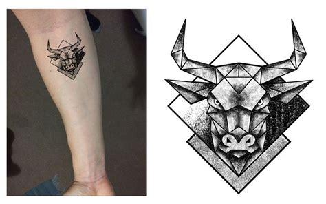 tattoo trends taurus bull geometric dotwork tattoo