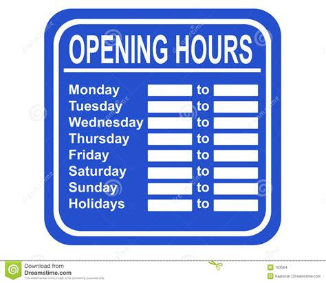 Opening Hours Stock Illustration Illustration Of Seller 703564 Opening Hours Sign Template