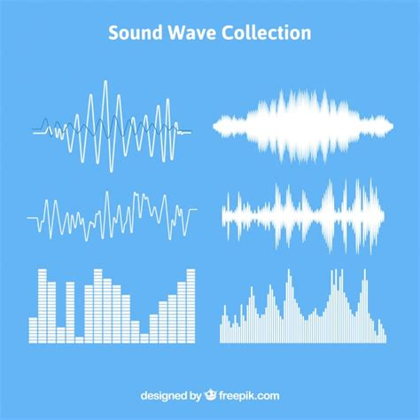 set  sound waves   designs vector