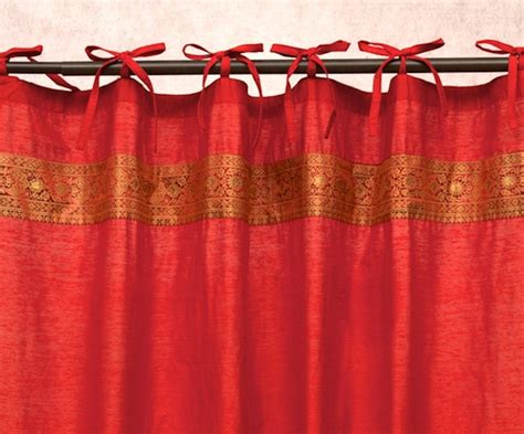 red silk drapes art silk curtains