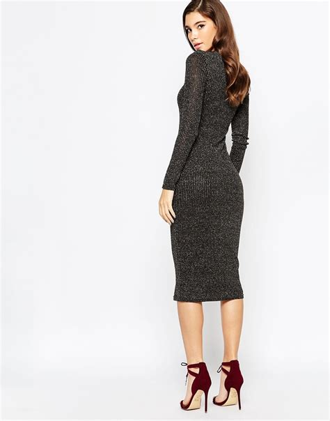 Knit Midi Dress lyst bardot metallic knit midi dress with lace up front