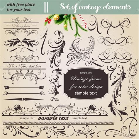 page layout design elements vector set calligraphic design elements and page