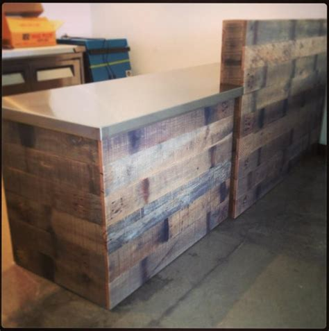 reclaimed oak bar with steel top heirlooms and hardware